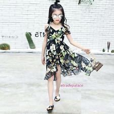 New Summer Kids Young Girls Sweet Flowers Beach Harness Chiffon Dress 5-14Y