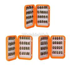 40pcs Dry Flies Fly Fishing Trout Flies Bees Barbed Hooks with Slit Foam Box