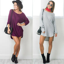 Womens Summer Long Sleeve Loose Casual Tops T-Shirt Blouse Short Mini Dress UK