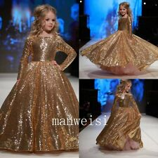 Shinny Pageant Girl Dresses Long Sleeve Flower Girl Dress Birthday Party Gowns