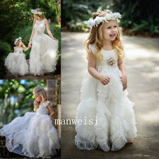 New White Flower Girl Dresses Wedding Bridesmaid Gowns Pageant Princess Birthday