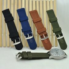 UK Mens 18-24mm Military Army Strap Nylon Watch Band With Stainless Steel Buckle