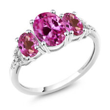 10K White Gold 2.70 Ct Pink Created Sapphire Pink Mystic Topaz 3-Stone Ring