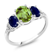 Diamond Accent 10k White Gold 2.48 Ct Oval Green Peridot Blue Sapphire Ring