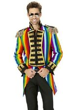 Rainbow Tailcoat Circus Ringmaster Gay Pride Frock Coat Fancy Dress Costume S-XL
