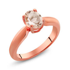 0.65 Ct Oval Peach Morganite 18K Rose Gold Plated Silver Ring