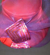 Ladies Satin Red and Purple RED HAT SOCIETY Brimmed Hat, Mesh Bow with Sequins