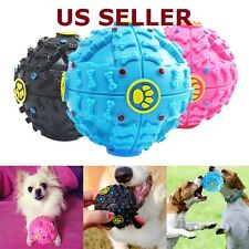Pet Dog Cat Funny Play Squeaky Squeaker Quack Sound Chew Treat Holder Ball Toy