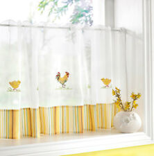 Rooster Duck Cafe Net Panel -Embroidered White Yellow Kitchen Voile Net Curtain