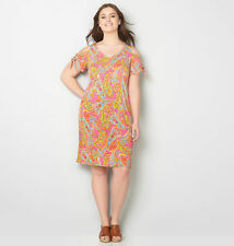 AVENUE Paisley Watercolor Cold Shoulder Dress