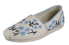 Skechers NEW Luxe Bobs Green Tea natural blue floral embroidered flat shoes 3-8