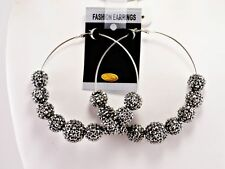Large Poparazzi Basketball Wives rhinestone ball hoops 3.5''FASHION EARRINGS