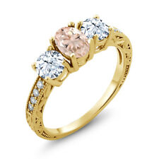 2.27 Ct Oval Peach Morganite 18K Yellow Gold Plated Silver Ring