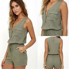Women Summer Short Sleeve V neck Beach Playsuit Shorts Jumpsuit Romper Trousers