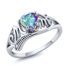 0.96 Ct Heart Shape Mercury Mist Mystic Topaz 18K White Gold MOM Ring