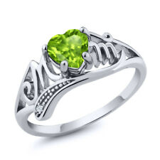 0.84 Ct Heart Shape Green Peridot White Topaz 925 Sterling Silver Ring