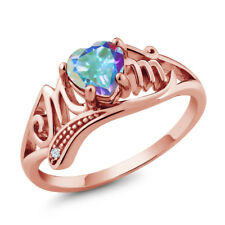 0.96 Ct Heart Shape Mercury Mist Mystic Topaz White Topaz 18K Rose Gold MOM Ring
