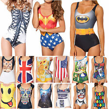 Women Swimwear Digital Print One-Piece Bikini Monokini Swimsuit Summer Beachwear