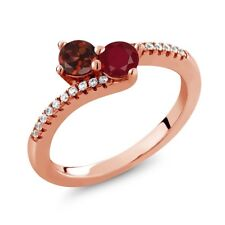 0.91 Ct Round Red Garnet Red Ruby Two Stone 18K Rose Gold Plated Silver Ring