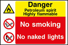 Petroleum No Smoking Signs, Plastic & Self Adheive Vinyl Available