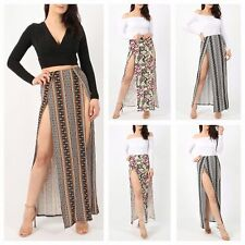 WOMENS LADIES TRIBAL PRINTED ELASTICATED WAIST DOUBLE SPLIT SLIT LONG MAXI SKIRT