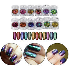 6/12 Colors Glitter Mirror Chrome Dust Nail Art Shimmer Color Changing Powder g3