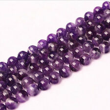 Natural Round Amethyst Making Loose Gemstone Beads Stone Strand Jewelry 15""