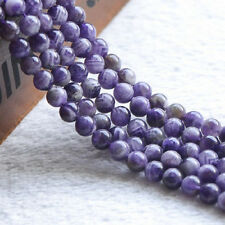 100% Natural Loose Round Amethyst Gemstone Stone Beads Jewelry Strand 15""