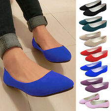 Women's Suede Boat Shoes Casual Slip On Flats Loafers Solid Colour Ballet Shoes