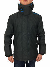Superdry Mens Pop Zip Hooded Arctic Windcheater Jacket in Black Marl Aqua