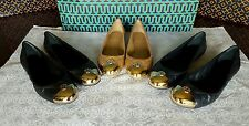 NIB TORY BURCH KAITLIN BALLET FLAT SHOE QUILTED MESTICO GOLD CAP BLACK NAVY CLAY