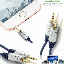3.5mm to 3.5mm Jack Audio Cable AUX MP3 24K Gold WIRE HQ OFC Lead Stereo Male