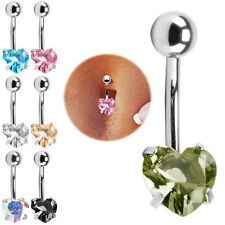 Newly Belly Bar Rhinestone Crystal Heart Barbell Navel Button Ring Body Piercing