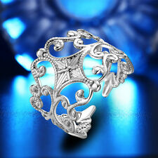 Fashion Jewellery Women Hollow out Flower Alloy Wide Open Ring Silver or Gold