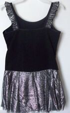New Girls Danskin Dance Leotard Black w Sillver Skirt Sz S(6/6x). M(7/8)