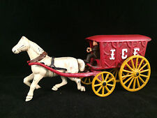 Cast Iron Toy Ice Wagon w/ Horse & Driver