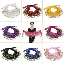 3 Rows 128 Gold Coins Belly Dance Costume Hip Scarf Skirt Belt Wrap Waist FG