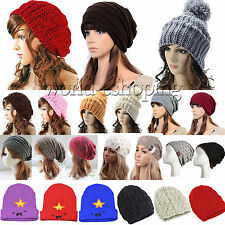 Women's Winter Cable Knit Slouch Beanie Hat Warm Wool Knitted Ski Beret Cap Band