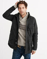 Abercrombie & Fitch Mens Jacket Utility Parka Military Style Hood M Black NWT