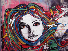 banksy Huge  Art Painting girl  Face  Hair street  Authentic Repro  By Pepe