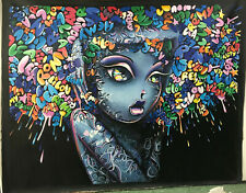 Girl funky face Huge Art Painting graffiti street urban Authentic By Pepe