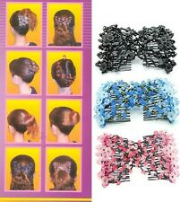 UK SELLER EZ Magic Beads Double Hair Comb Clip Stretchy Hair Combs Ladies Party