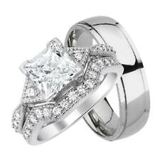 His and Hers 3 Pcs CZ Wedding Ring Set Sterling Silver and Titanium