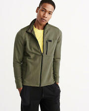 Abercrombie & Fitch Mens Jacket Sports Track Quilted Mock Neck M Olive NWT