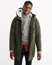 Abercrombie & Fitch Mens Sherpa Lined Cotton Parka Jacket Winter L XL Olive NWT