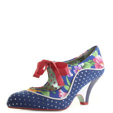 Womens Poetic Licence Schools Out Navy Floral Low Heel Mary Jane Shoes Shu Size