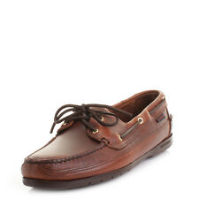 Mens Sebago Schooner Brown Waxy Leather Moccasin Deck Boat Shoes Shu Size