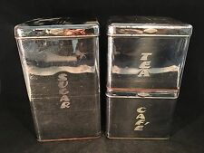 Vintage Retro Pantry Queen Stainless Steel Cannisters - Sugar, Tea, Cafe