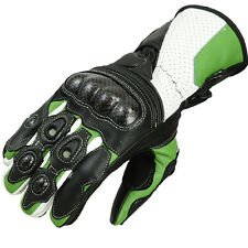 Motorcycle Gloves Leather motorcycle gloves Biker Leather gloves Green/White - S
