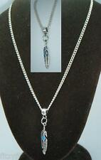 """18"""" or 24 Inch Chain Necklace & Feather Pendant Charm Gift Souvenir"""